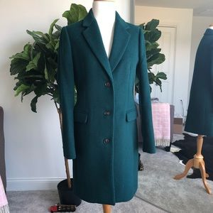 J. Crew green wool topcoat size 2
